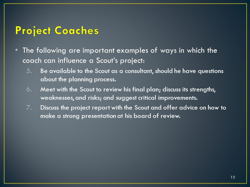 The following are important examples of ways in which the coach can influence a Scout's project: 5.Be available to the Scout as a consultant, should he have questions about the planning process.