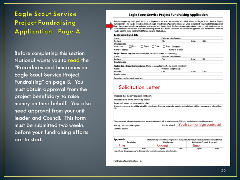 """26 Before completing this section National wants you to read the """"Procedures and Limitations on Eagle Scout Service Project Fundraising"""" on page B. Yo"""