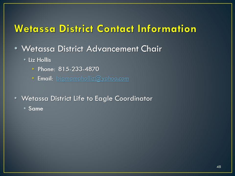 Wetassa District Advancement Chair Wetassa District Advancement Chair Liz Hollis Liz Hollis Phone: 815-233-4870 Phone: 815-233-4870 Email: bigmamaholl