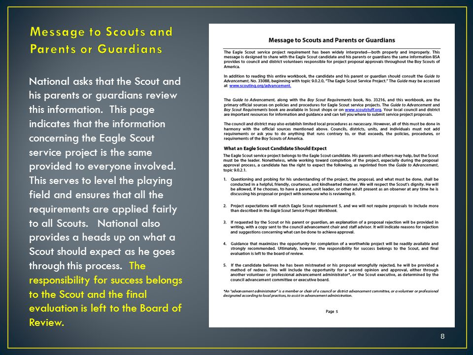 8 National asks that the Scout and his parents or guardians review this information. This page indicates that the information concerning the Eagle Sco