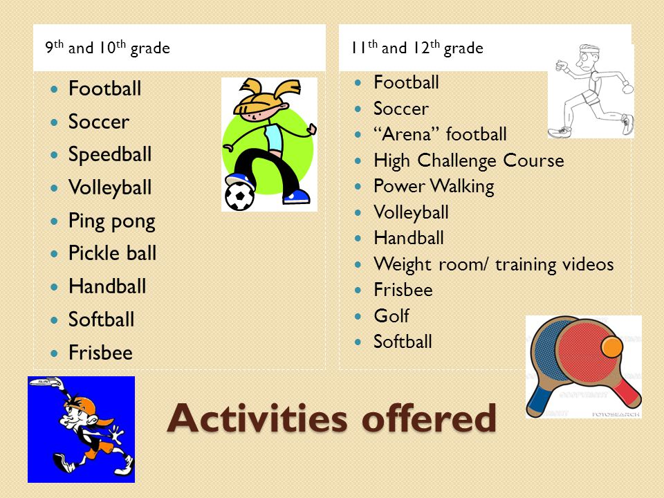 Activities offered 9 th and 10 th grade11 th and 12 th grade Football Soccer Speedball Volleyball Ping pong Pickle ball Handball Softball Frisbee Foot