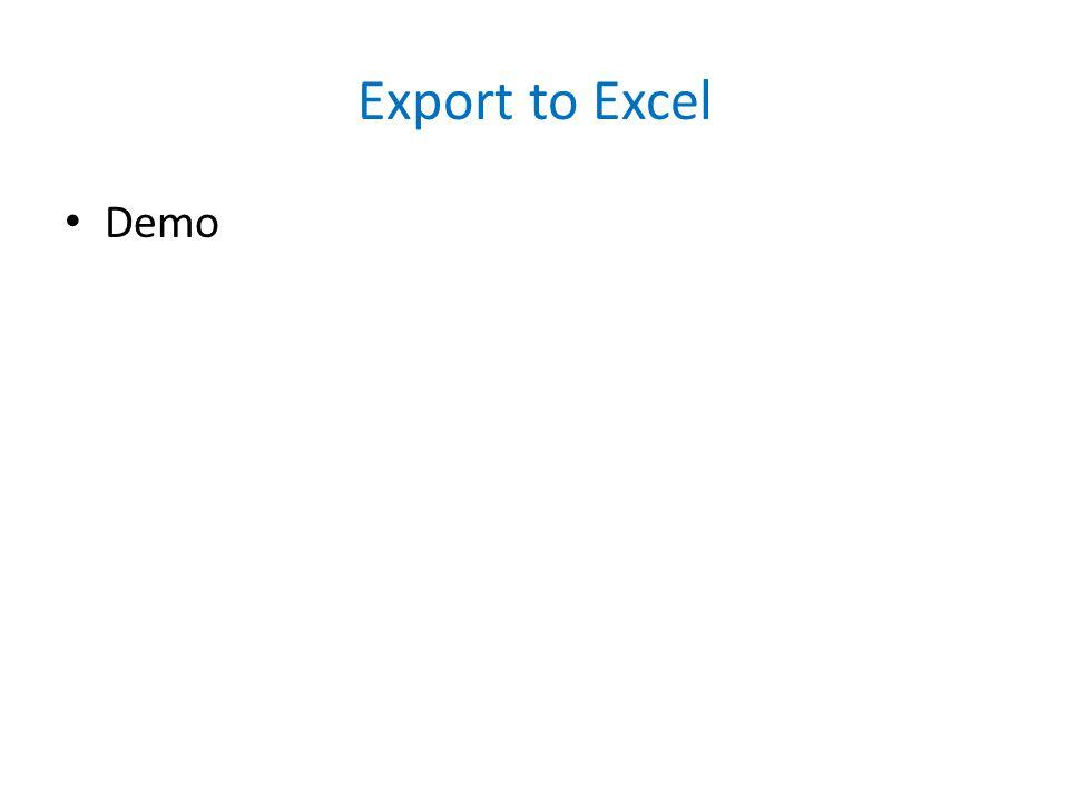 Export to Excel Demo