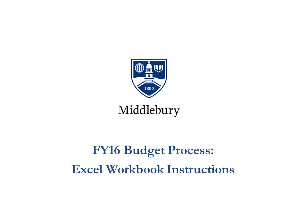 FY16 Budget Process: Excel Workbook Instructions