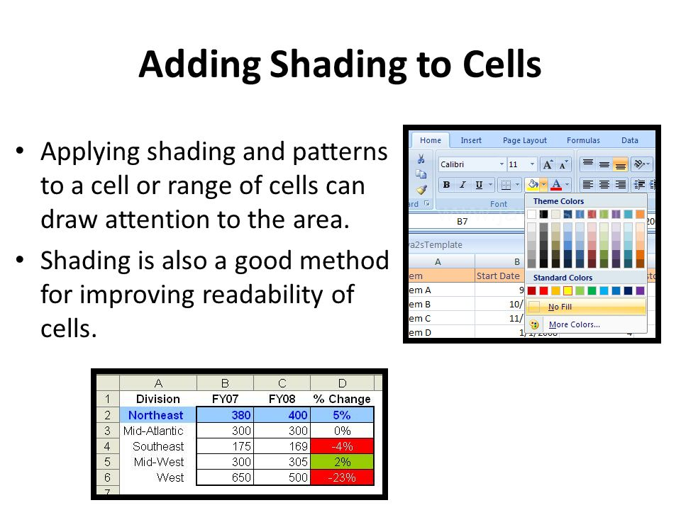 Adding Shading to Cells Applying shading and patterns to a cell or range of cells can draw attention to the area. Shading is also a good method for im