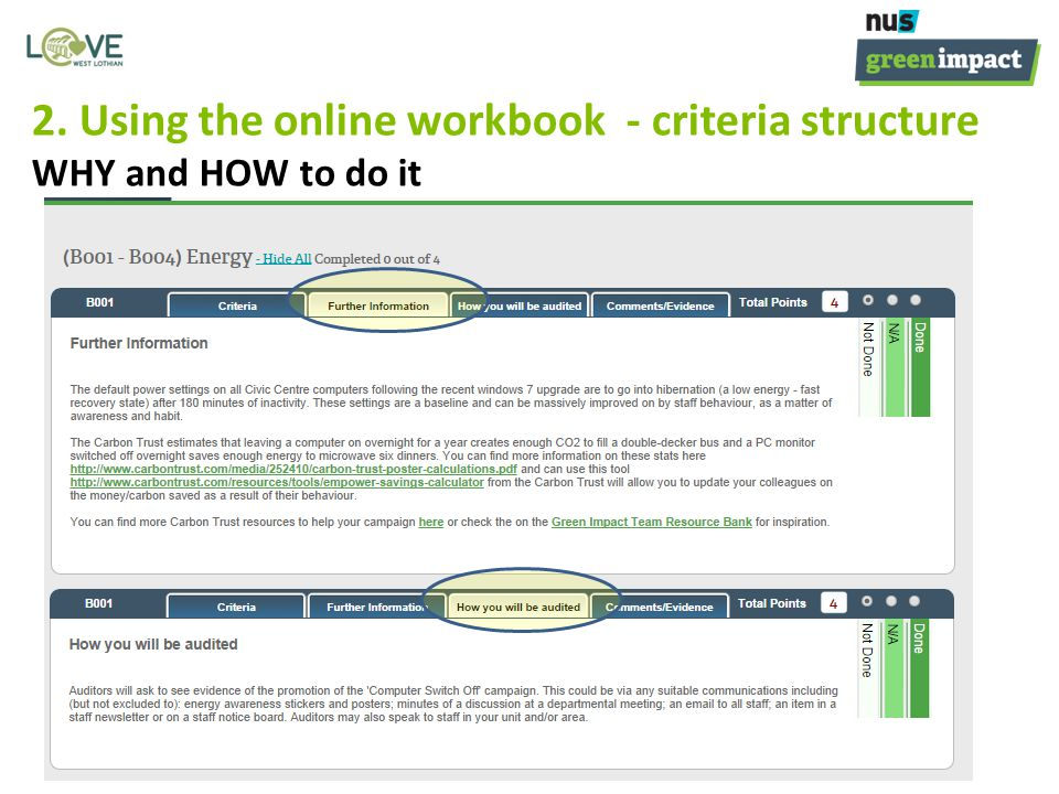 2. Using the online workbook - criteria structure WHY and HOW to do it