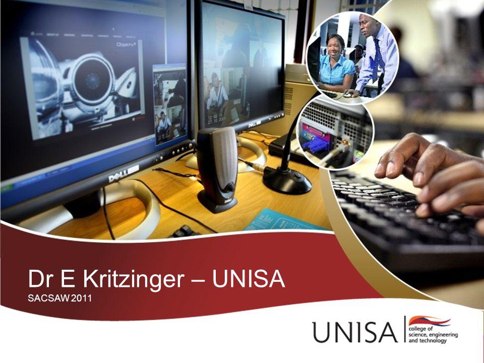 Dr E Kritzinger – UNISA SACSAW 2011