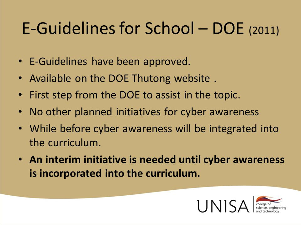 E-Guidelines for School – DOE (2011) E-Guidelines have been approved.
