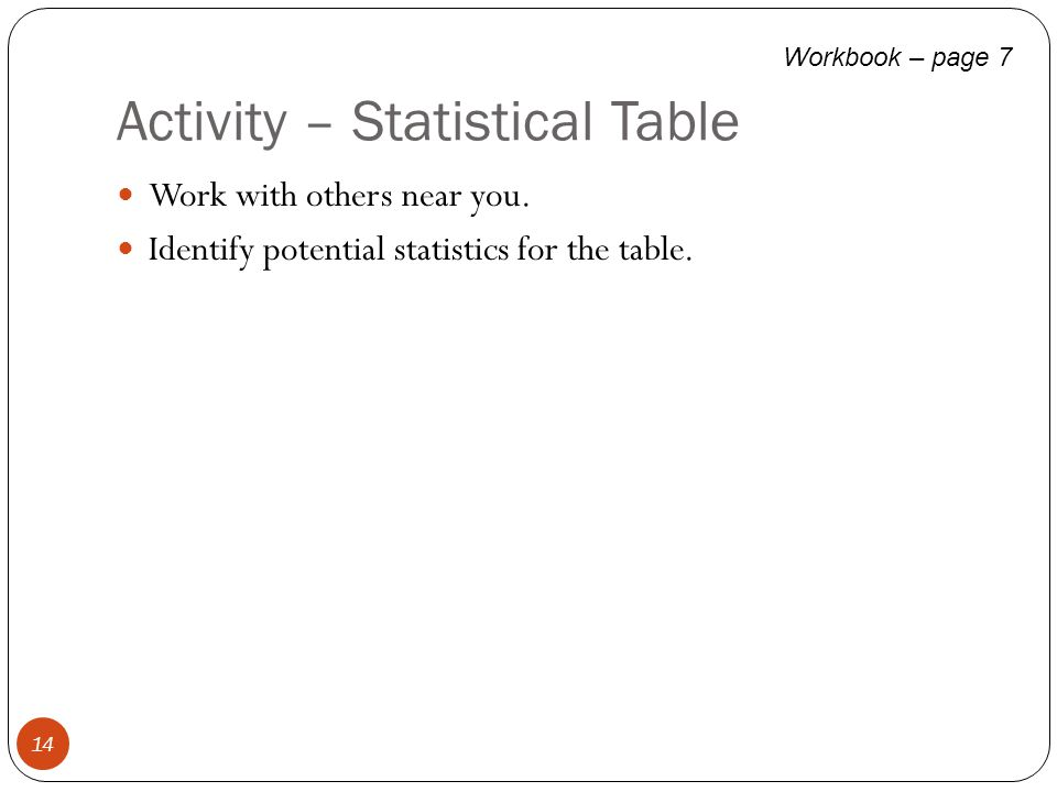 Activity – Statistical Table Work with others near you. Identify potential statistics for the table. 14 Workbook – page 7