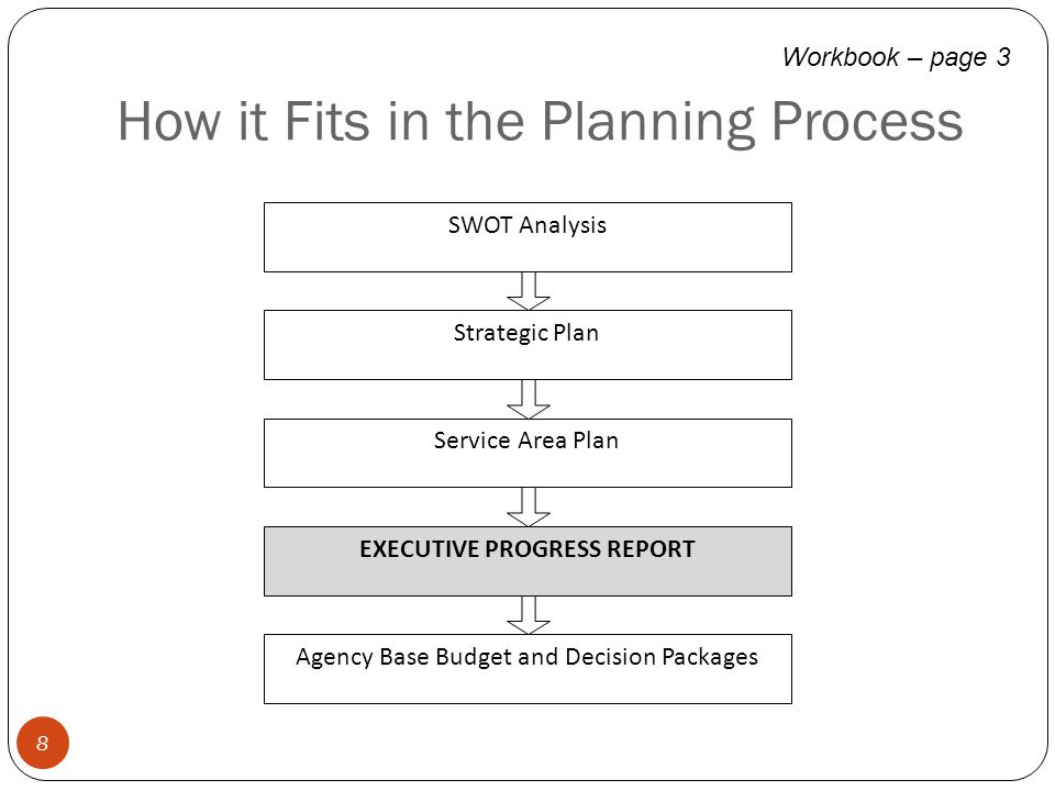 How it Fits in the Planning Process 8 Workbook – page 3 SWOT Analysis Strategic Plan Service Area Plan EXECUTIVE PROGRESS REPORT Agency Base Budget an