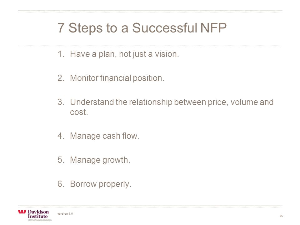 version 1.0 26 1.Have a plan, not just a vision. 2.Monitor financial position.