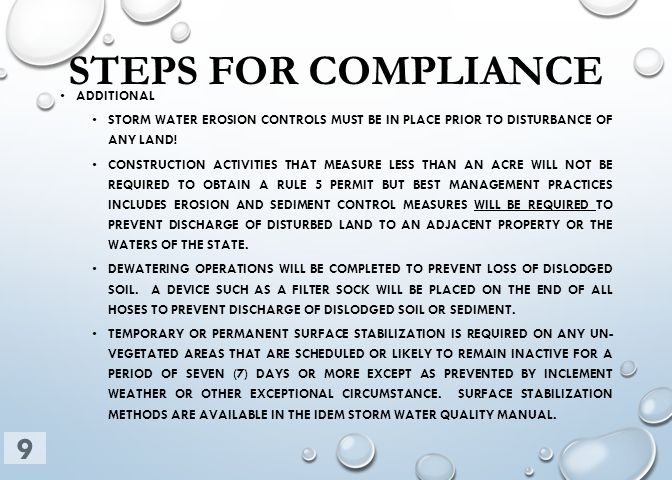 STEPS FOR COMPLIANCE ADDITIONAL STORM WATER EROSION CONTROLS MUST BE IN PLACE PRIOR TO DISTURBANCE OF ANY LAND! CONSTRUCTION ACTIVITIES THAT MEASURE L