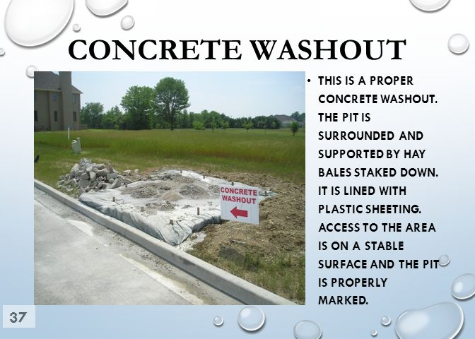 CONCRETE WASHOUT THIS IS A PROPER CONCRETE WASHOUT. THE PIT IS SURROUNDED AND SUPPORTED BY HAY BALES STAKED DOWN. IT IS LINED WITH PLASTIC SHEETING. A