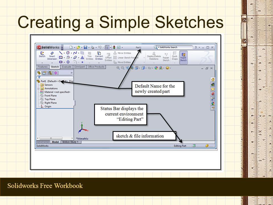 Creating a Simple Sketches Solidworks Free Workbook
