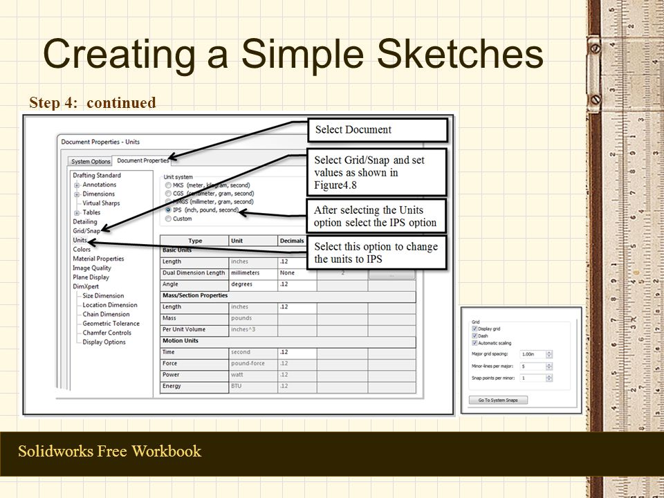 Creating a Simple Sketches Solidworks Free Workbook Step 4: continued