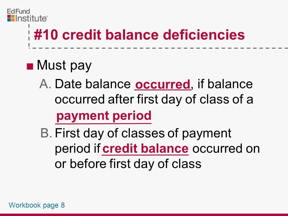 #10 Credit Balance Deficiencies Workbook page 8