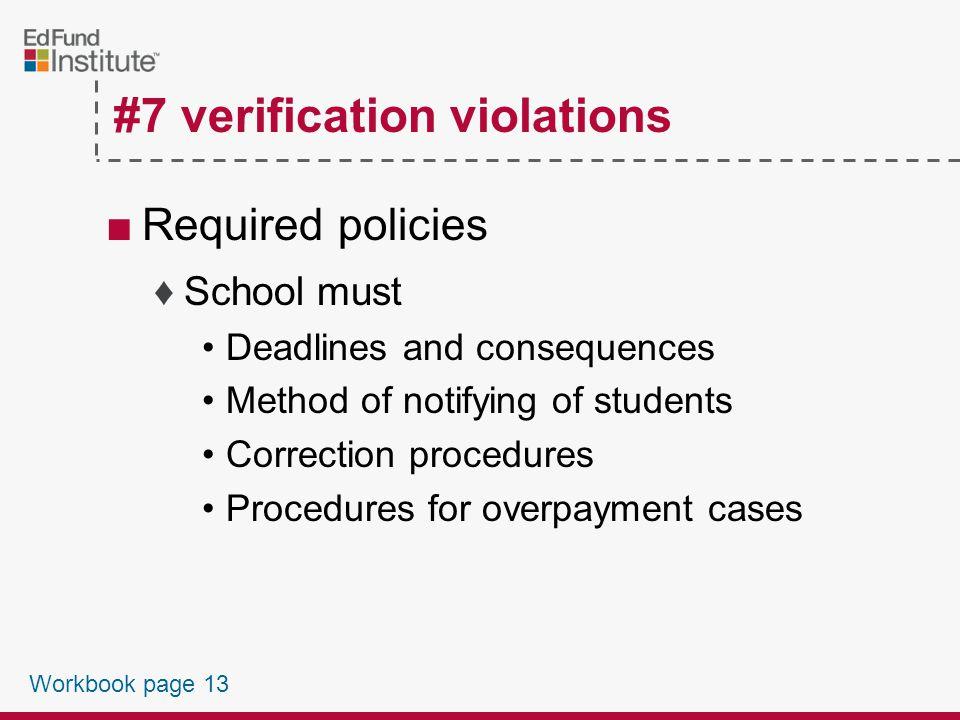 #7 Verification Violations Workbook page 13