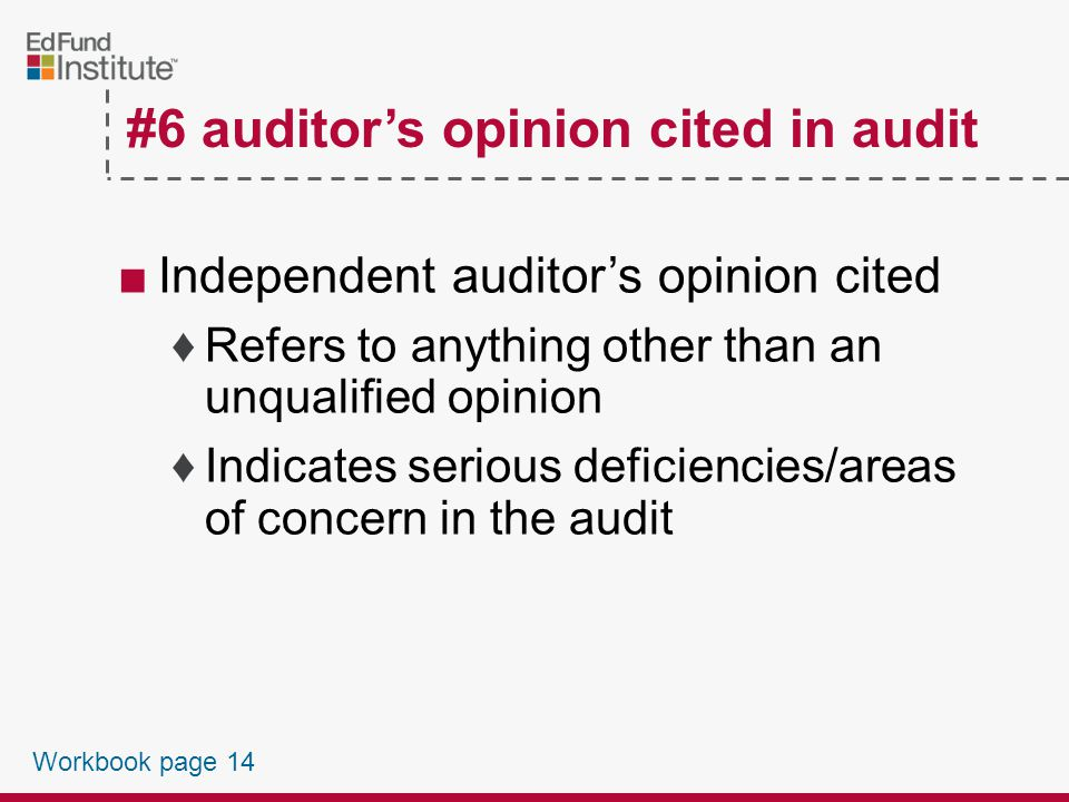 #6 Auditor's Opinion Cited in Audit Workbook page 14