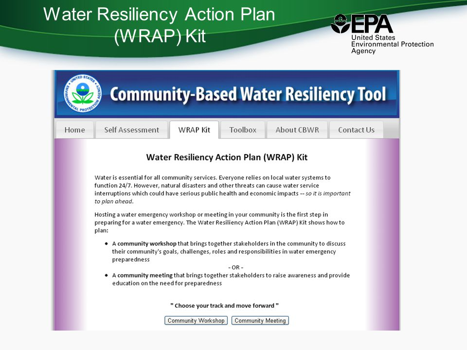 Water Resiliency Action Plan (WRAP) Kit