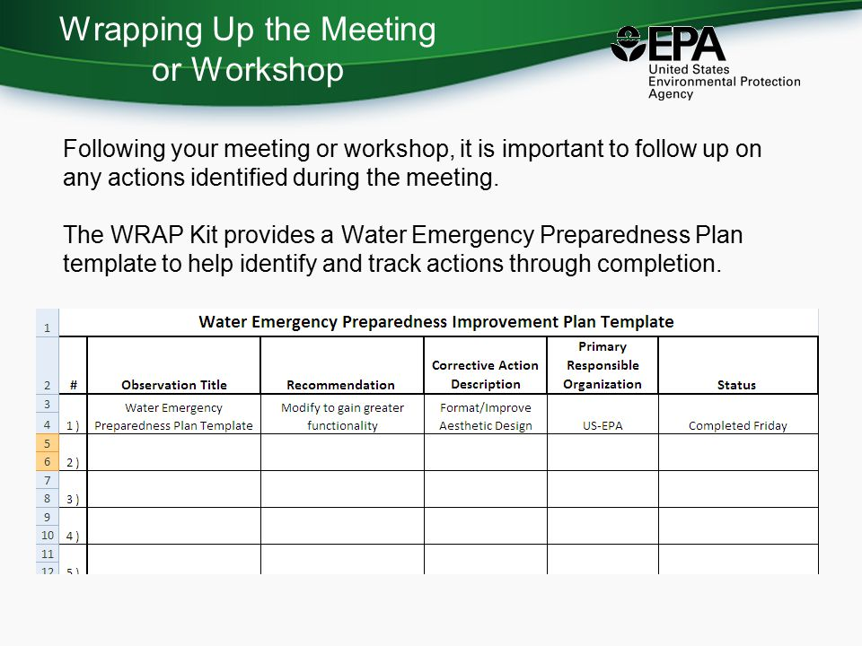 Wrapping Up the Meeting or Workshop Following your meeting or workshop, it is important to follow up on any actions identified during the meeting.