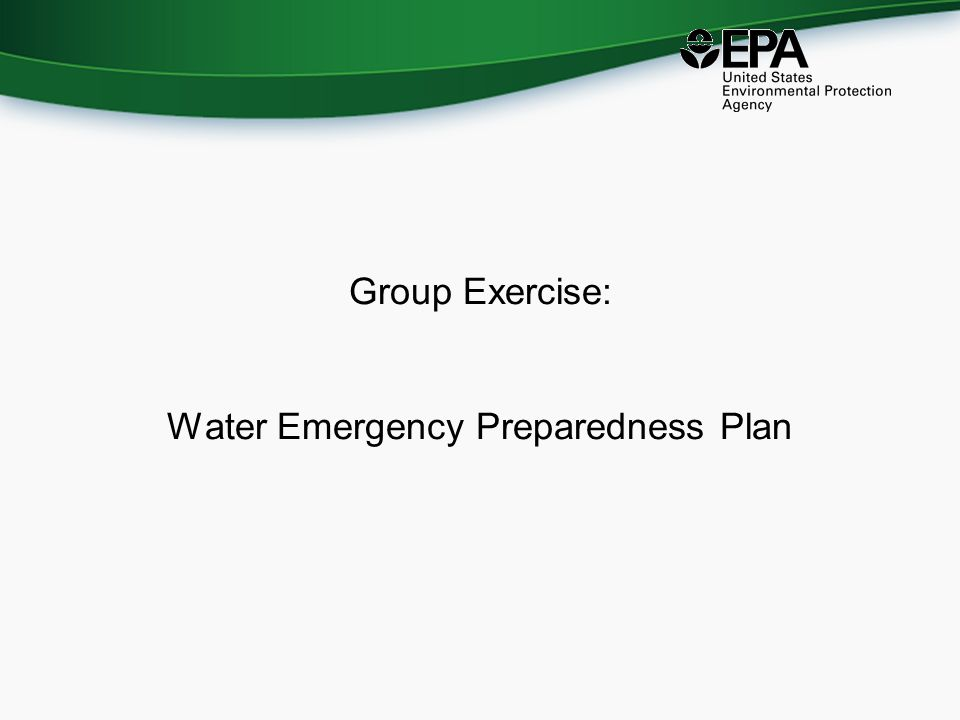 Group Exercise: Water Emergency Preparedness Plan