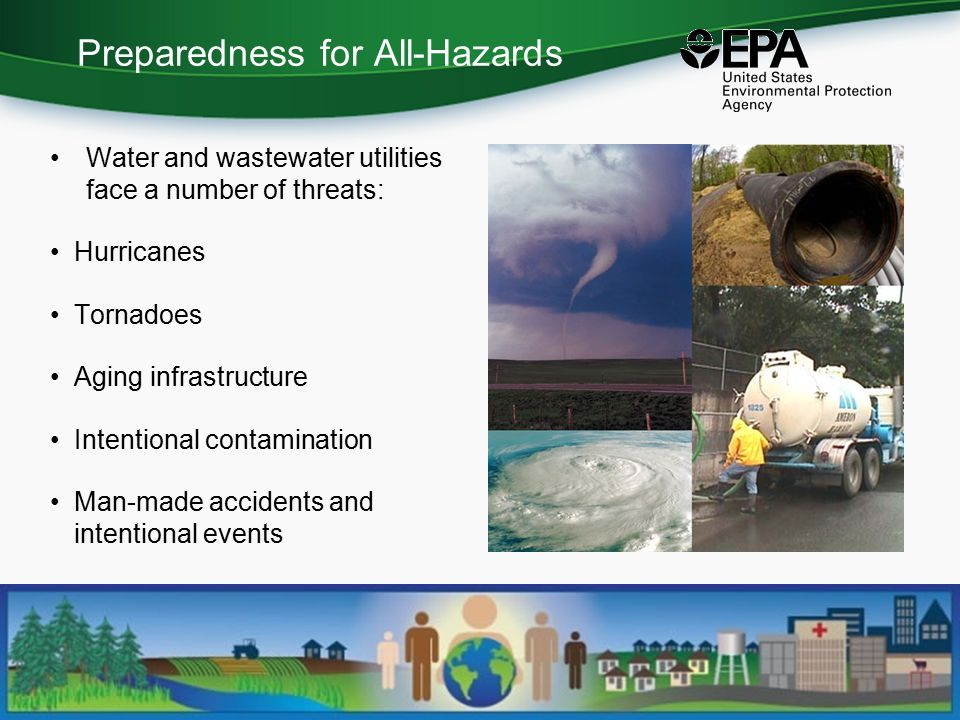 Preparedness for All-Hazards Water and wastewater utilities face a number of threats: Hurricanes Tornadoes Aging infrastructure Intentional contamination Man-made accidents and intentional events