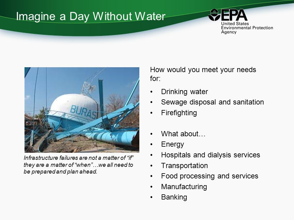 Water Resiliency Action Plan (WRAP) Kit Provides users with step-by-step process for planning a water emergency meeting or workshop, and covers: –Expectations –Roles and responsibilities –Capabilities and limitations –Planning, hosting and follow-up actions Includes sample: –Agendas –Invitations –Suggested participants –Logistical templates and scripts for recruitment
