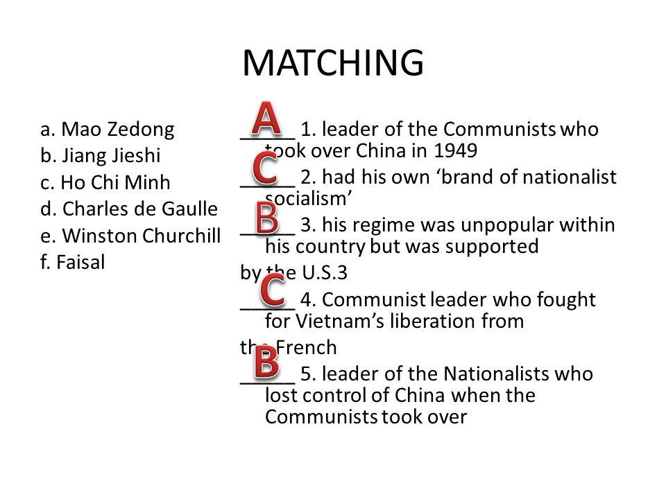 MATCHING a. Mao Zedong b. Jiang Jieshi c. Ho Chi Minh d.