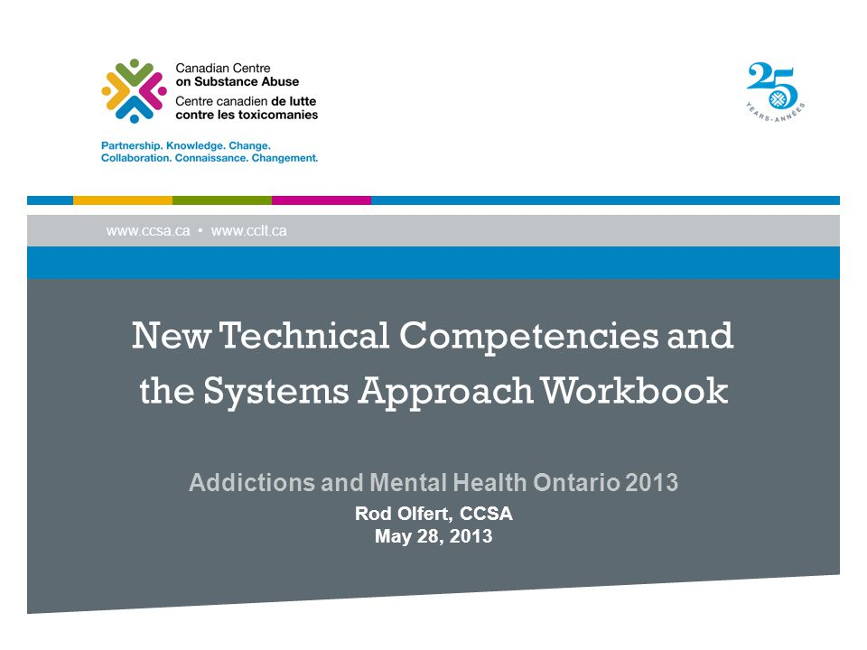 www.ccsa.ca www.cclt.ca New Technical Competencies and the Systems Approach Workbook Addictions and Mental Health Ontario 2013 Rod Olfert, CCSA May 28, 2013