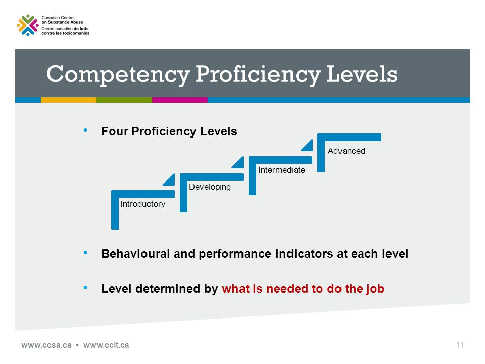 www.ccsa.ca www.cclt.ca Competency Proficiency Levels Four Proficiency Levels Behavioural and performance indicators at each level Level determined by what is needed to do the job 11 Introductory Developing Intermediate Advanced