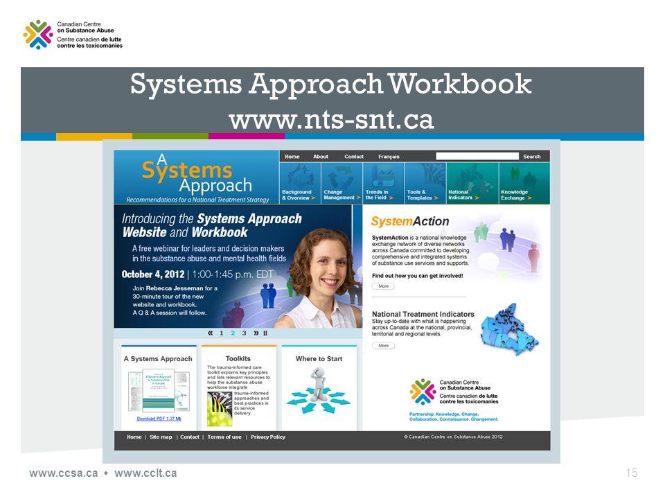 Systems Approach Workbook www.nts-snt.ca www.ccsa.ca www.cclt.ca15