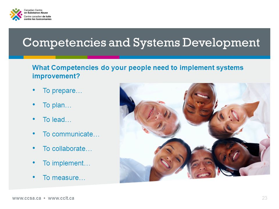 Competencies and Systems Development What Competencies do your people need to implement systems improvement.