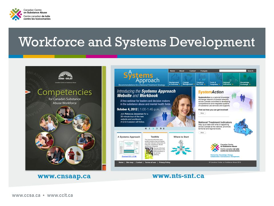 www.ccsa.ca www.cclt.ca Systems Approach Workbook Modules and Topics Change Management Working with Teams Systems Thinking and Complexity Integrating Substance Use and Mental Health Tools and Templates Context Analysis Implementation Plan Communications Strategy Powerpoint, Key Messages, Systems Approach Briefing Note 16 Available Now