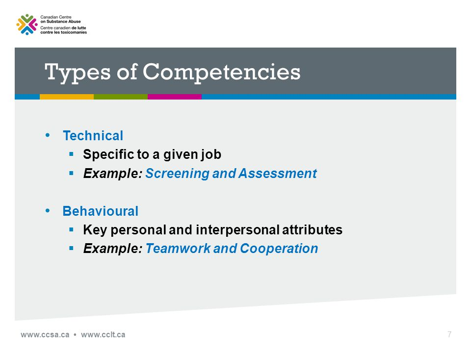 Types of Competencies Technical  Specific to a given job  Example: Screening and Assessment Behavioural  Key personal and interpersonal attributes  Example: Teamwork and Cooperation www.ccsa.ca www.cclt.ca7