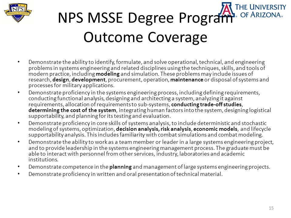 NPS MSSE Degree Program Outcome Coverage Demonstrate the ability to identify, formulate, and solve operational, technical, and engineering problems in systems engineering and related disciplines using the techniques, skills, and tools of modern practice, including modeling and simulation.