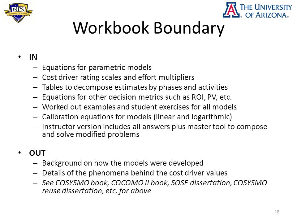 Workbook Boundary IN – Equations for parametric models – Cost driver rating scales and effort multipliers – Tables to decompose estimates by phases an