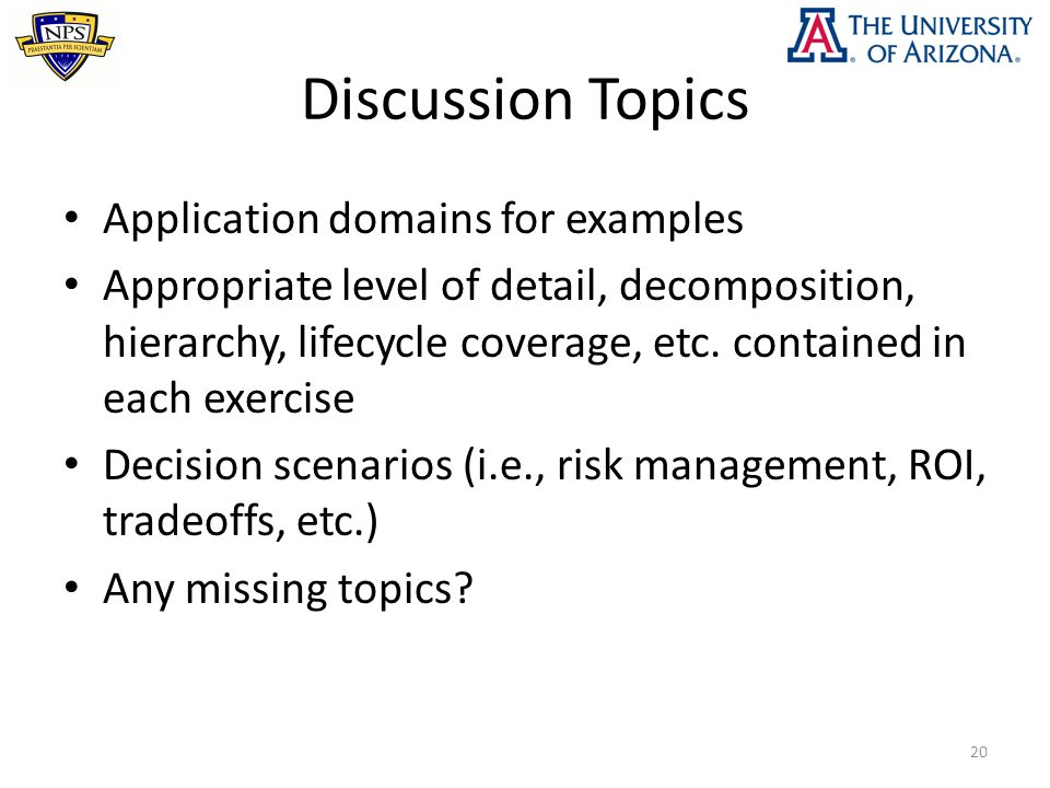Discussion Topics Application domains for examples Appropriate level of detail, decomposition, hierarchy, lifecycle coverage, etc. contained in each e