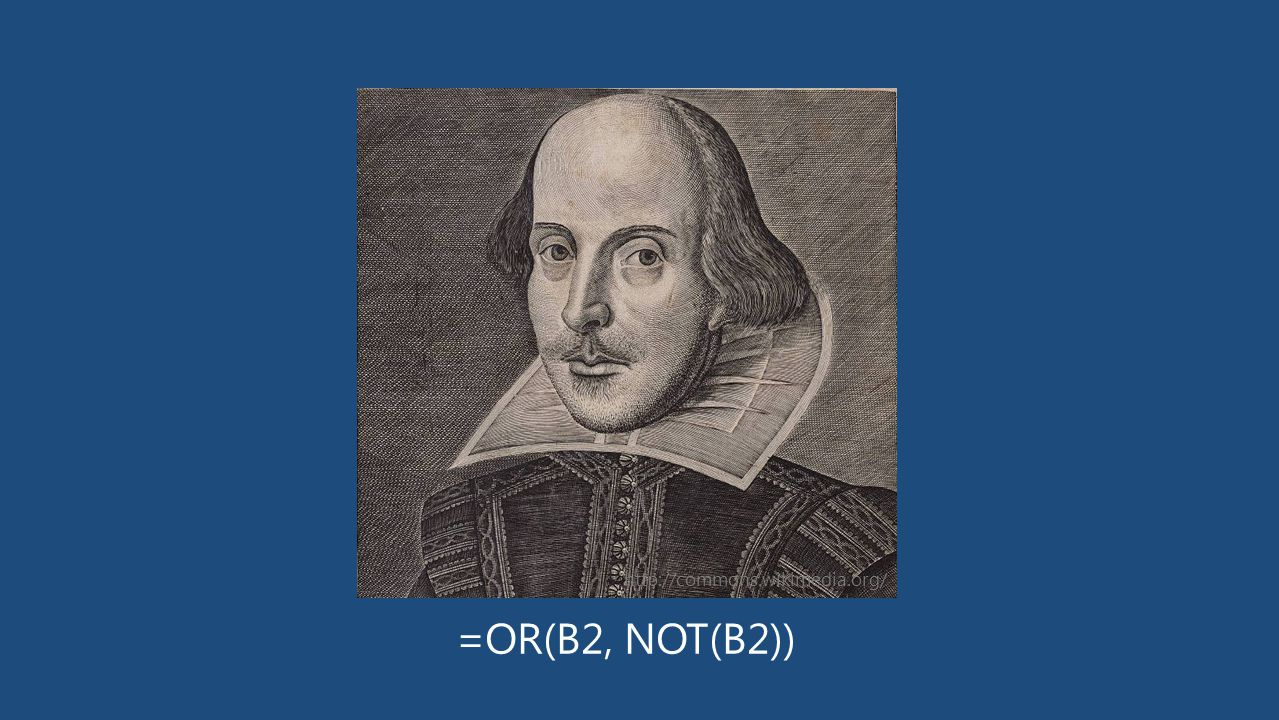 =OR(B2, NOT(B2)) http://commons.wikimedia.org/