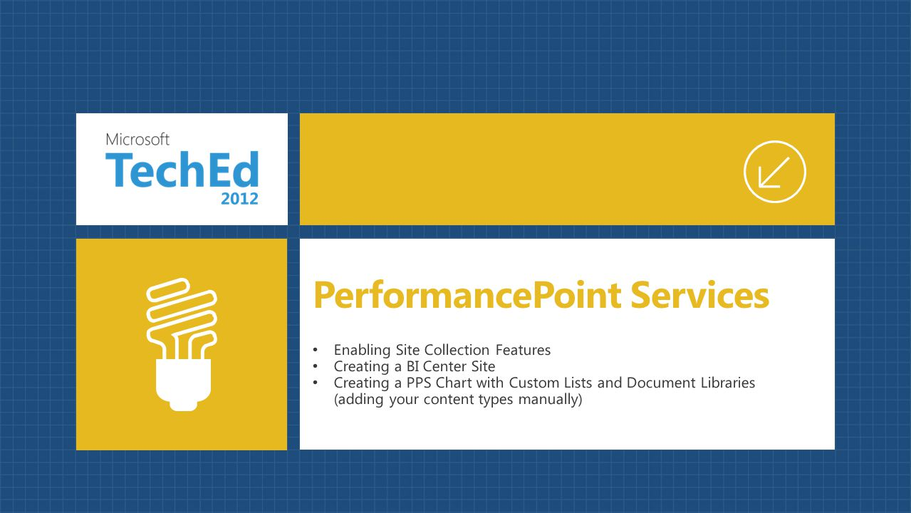 Enabling Site Collection Features Creating a BI Center Site Creating a PPS Chart with Custom Lists and Document Libraries (adding your content types m