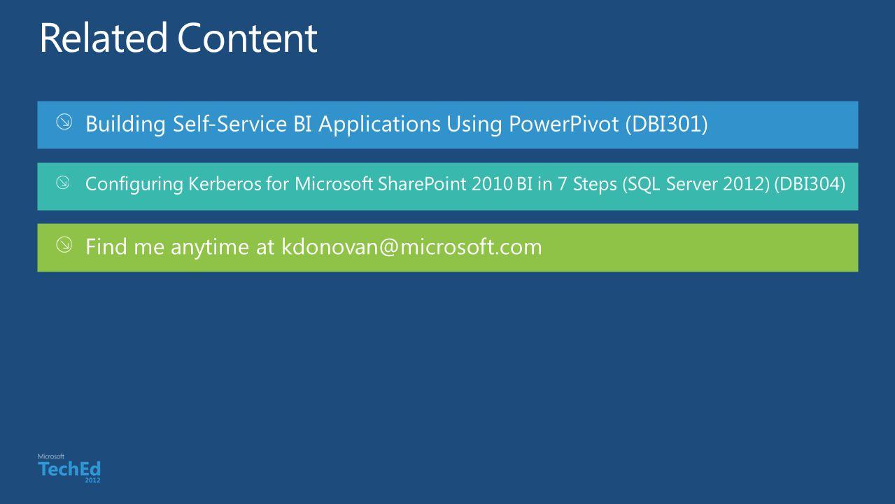 Building Self-Service BI Applications Using PowerPivot (DBI301) Configuring Kerberos for Microsoft SharePoint 2010 BI in 7 Steps (SQL Server 2012) (DB