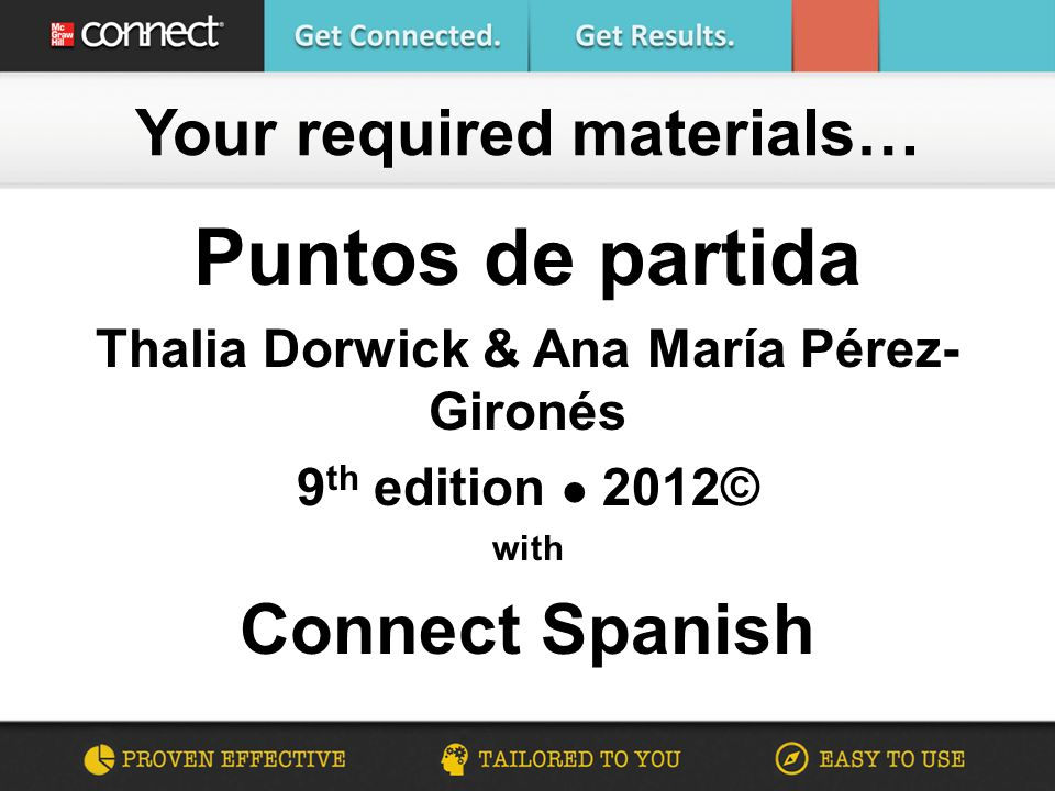 Puntos de partida Thalia Dorwick & Ana María Pérez- Gironés 9 th edition 2012© with Connect Spanish Your required materials…