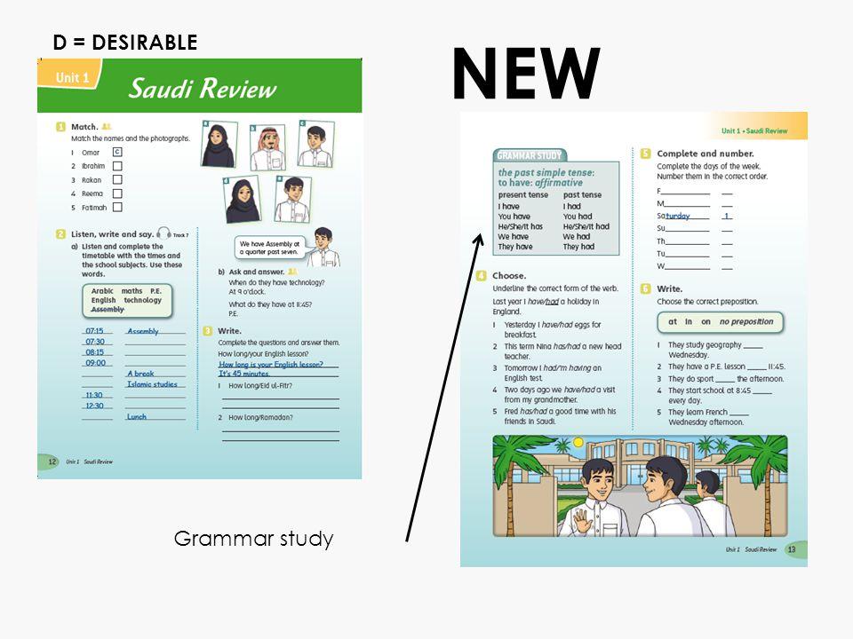 Grammar study NEW D = DESIRABLE