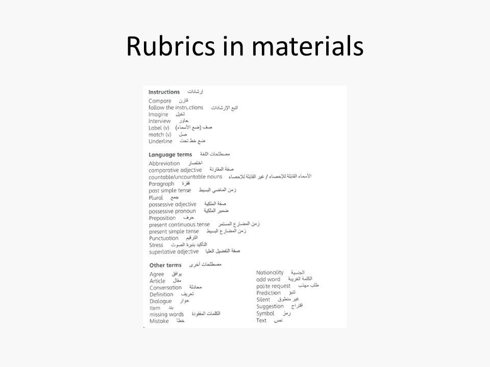 Rubrics in materials