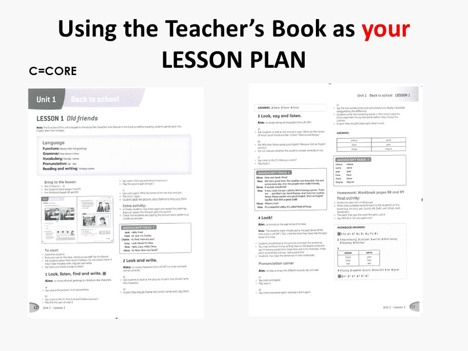 Using the Teacher's Book as your LESSON PLAN C=CORE