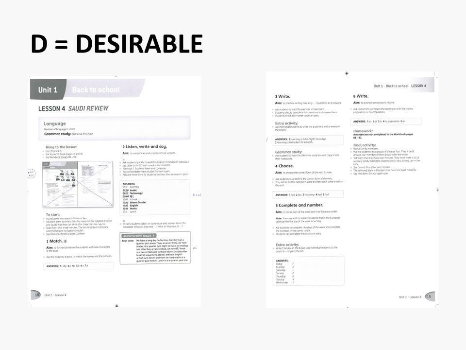 D = DESIRABLE
