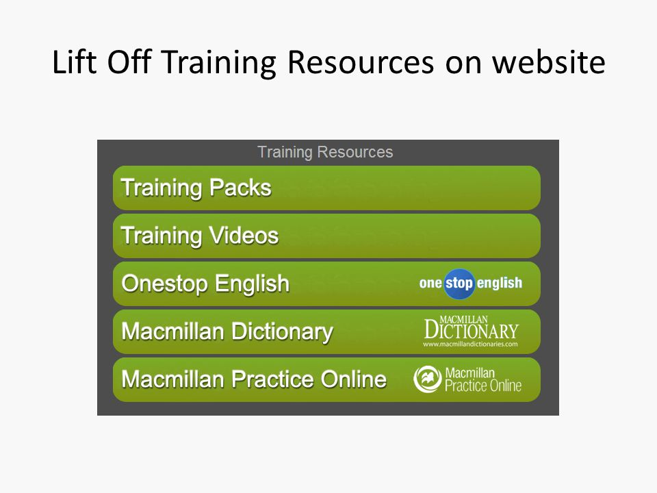Lift Off Training Resources on website