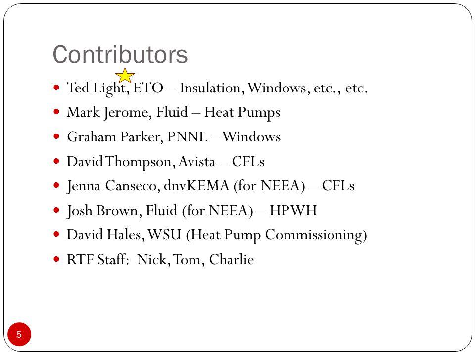 Contributors 5 Ted Light, ETO – Insulation, Windows, etc., etc.