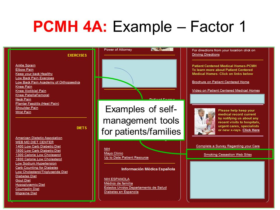 PCMH 4A: Example – Factor 1 Examples of self- management tools for patients/families