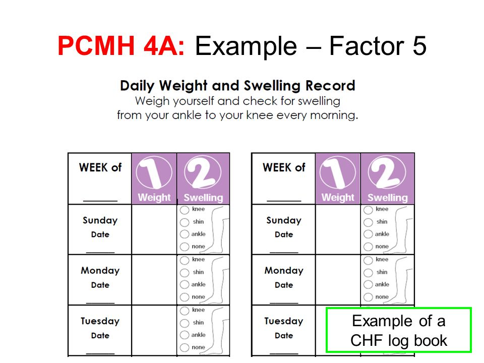 PCMH 4A: Example – Factor 5 Example of a CHF log book