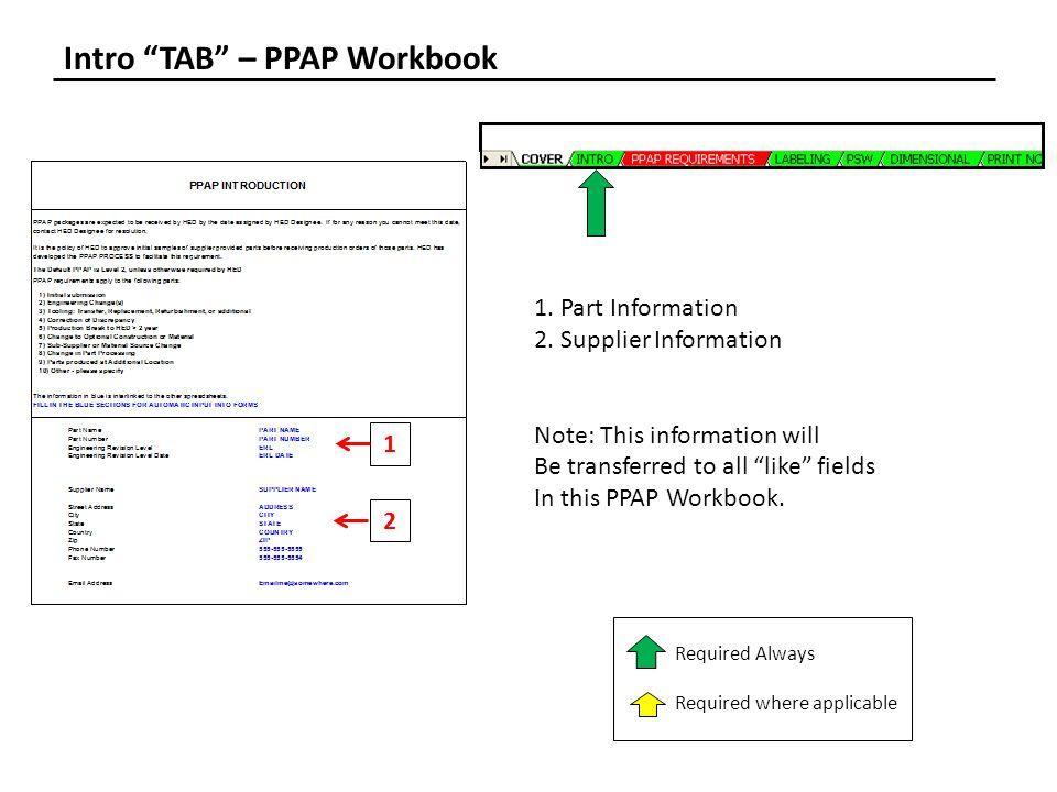 Intro TAB – PPAP Workbook 1.Part Information 2.