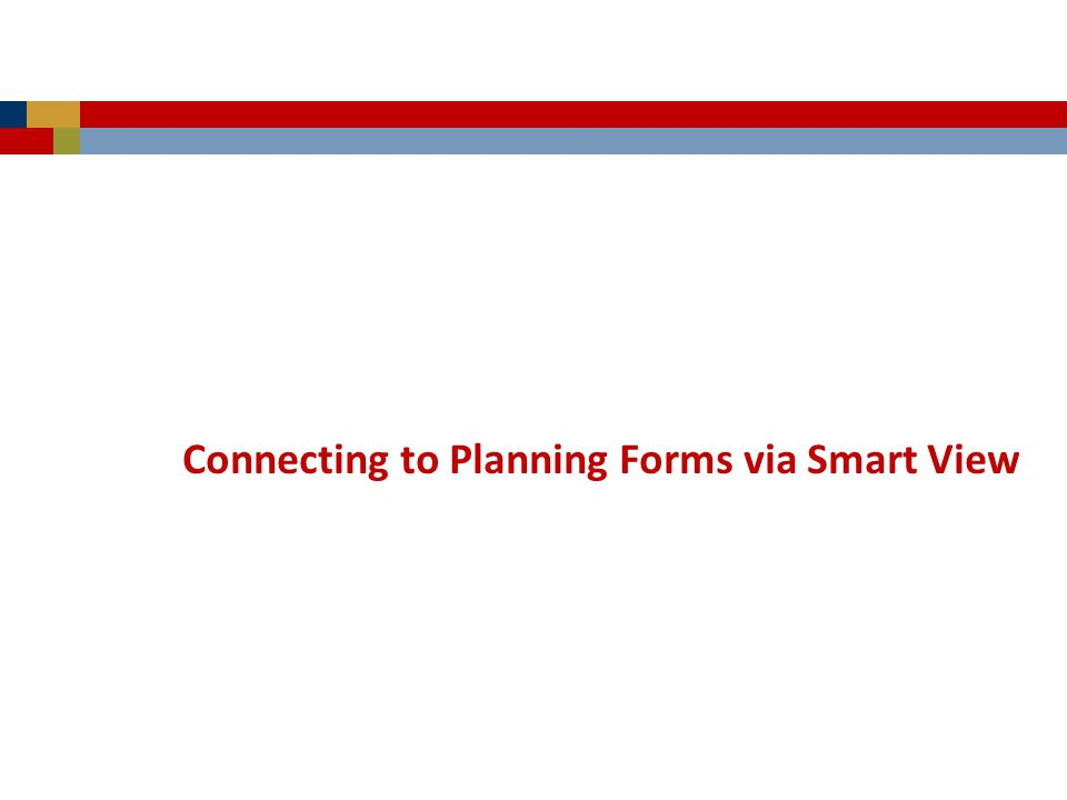 Connecting to Planning Forms via Smart View